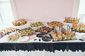 Catering Service. Catering Food. Table With Food At Event. Beautifully Decorated Catering Banquet Ta poster