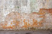Industrial background, empty grunge urban street with warehouse brick wall. Background of old vintag poster