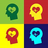Color Male Head With A Heartbeat Icon Isolated On Color Backgrounds. Head With Mental Health, Health poster