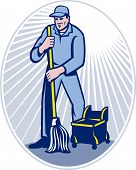 stock photo of janitor  - illustration of a cleaner janitor cleaning floor with mop viewed from front set inside ellipse done in retro woodcut style - JPG