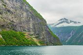 Fjord In Norway - Nature And Travel Background. Beautiful View Of The Coast Of Fjord On A Summer Day poster