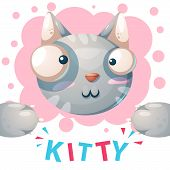 Cute Kitty, Cat Characters - Cartoon Illustration. Vector Eps 10 poster