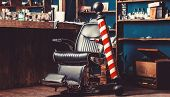 Barber Shop Pole. Logo Of The Barbershop, Symbol. Stylish Vintage Barber Chair. Hairstylist In Barbe poster