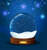 realistic vector snow globe with wooden texture