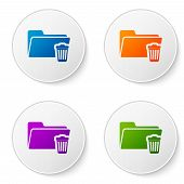 Color Delete Folder Icon Isolated On White Background. Folder With Recycle Bin. Delete Or Error Fold poster