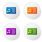 Color Music Book With Note Icon Isolated On White Background. Music Sheet With Note Stave. Notebook  poster
