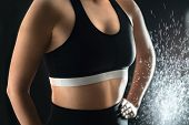 Fit Woman In Workout Clothes. Weightlifting, Gym Training And Fitness Concept. Confident Lady In Spo poster