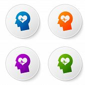Color Male Head With A Heartbeat Icon Isolated On White Background. Head With Mental Health, Healthc poster