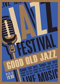 Vector Poster For A Jazz Festival Of Live Music With A Microphone In Retro Style On The Blue Backgro poster