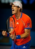 MELBOURNE - JANUARY 27: Andy Murray of Great Britain in his semi finall loss to Novak Djokovic of Se