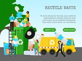 Recycle Garbage, Save Ecology Concept Banner Vector Illustration. Small People Throwing Trash Into B poster