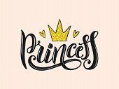 Princess Lettering For Print, T-shirt Design And Girls Clothes. Princess Apparel Print. Princess Log poster