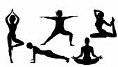 Women Doing Yoga Excercises Silhouettes Vector Illustration On A White Background Isolated. Activity poster