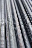 Close-up On Reinforcing Steel. Steel Reinforcement Close-up. poster