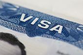American Visa Theme. Close Up Of Usa Visa Stamp poster