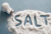 A Pile Of Salt From Salt Shaker, Word Salt, Concept Excessive Salt Intake And White Death poster