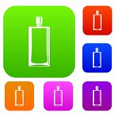 Scent Bottle Set Icon Color In Flat Style Isolated On White. Collection Sings Illustration poster