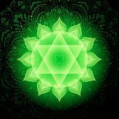 Anahata Chakra Colorful Glowing Symbol With Mandala Background. Spiritual Meditation Element Vector  poster