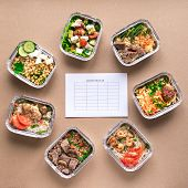 Nutrition Meal Plan Mockup With Healthy Food Delivery. Fitness Nutrition For Diet. Daily Meals In Fo poster