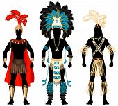 stock photo of loin cloth  - Vector Illustration of three male Costumes for Festival Mardi Gras Carnival Halloween or more - JPG