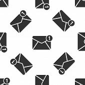 Grey Envelope Icon Isolated Seamless Pattern On White Background. Received Message Concept. New, Ema poster