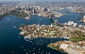Aerial View From Helicopter Of Sydney Cbd Featuring The Harbour - Kirribilli - Harbour Bridge. Sydne poster