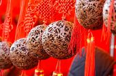 Red  decorative balls hanging for sales in chinese new year.