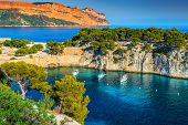 Fantastic Vacation Place, Stunning Viewpoint On The Cliffs, Calanques De Port Pin Bay With Yachts An poster
