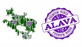 Vector Collage Of Grape Wine Map Of Alava Province And Purple Grunge Stamp For Premium Wines Awards. poster
