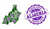 Vector Collage Of Grape Wine Map Of Almeria Province And Purple Grunge Seal For Premium Wines Awards poster