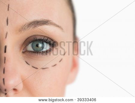 Face ready for a facelift on white background poster