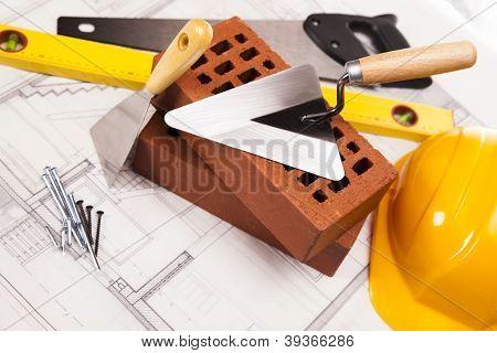 Постер, плакат: Строительство и строительная техника, холст на подрамнике