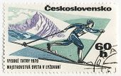 Skier On Post Stamp