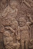 Thai Carving On The Stone Wall