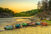 Boats Through River Coast