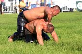 Wrestler fighting an opponent
