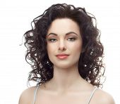 picture of cold-shoulder  - portrait of attractive  caucasian smiling woman brunette isolated on white studio shot head and shoulders face skin hand hair looking at camera brush makeup - JPG