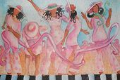 image of diva  - This is an illustration of several black women with hats on  dancing through a ribbon for breast cancer awareness - JPG