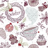 seamless pattern with spicy winter theme poster