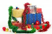 Many colorful Christmas gifts
