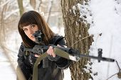 Young Lady With A Sniper Rifle