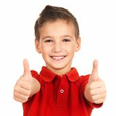 pic of pretty-boy  - Portrait of cheerful boy showing thumbs up gesture isolated over white background - JPG