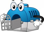 Mascot Illustration of a Pet Crate with its Door Open