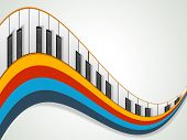 image of rainbow piano  - Music concept with piano on colorful wave background - JPG