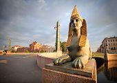 Sphinx Chimera On Egyptian Bridge In Saint-petersburg