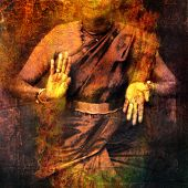image of shakti  - Hands in dance for Shiva with give and take mudra showing prana - JPG
