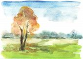 Watercolour Autumn Landscape
