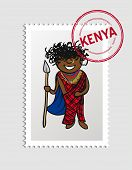 Kenya Cartoon Person Travel Stamp.