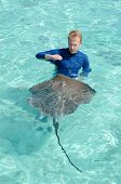 image of stingray  - A tourist playing with and feeding a stingray Himantura fai in the shallow clear water of the lagoon of Bora Bora an island in the Tahiti archipelago French Polynesia - JPG