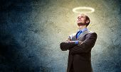foto of halo  - Image of businessman with halo above head - JPG